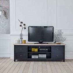 Meuble TV en bois d'acajou et teck LONDRES 180 cm