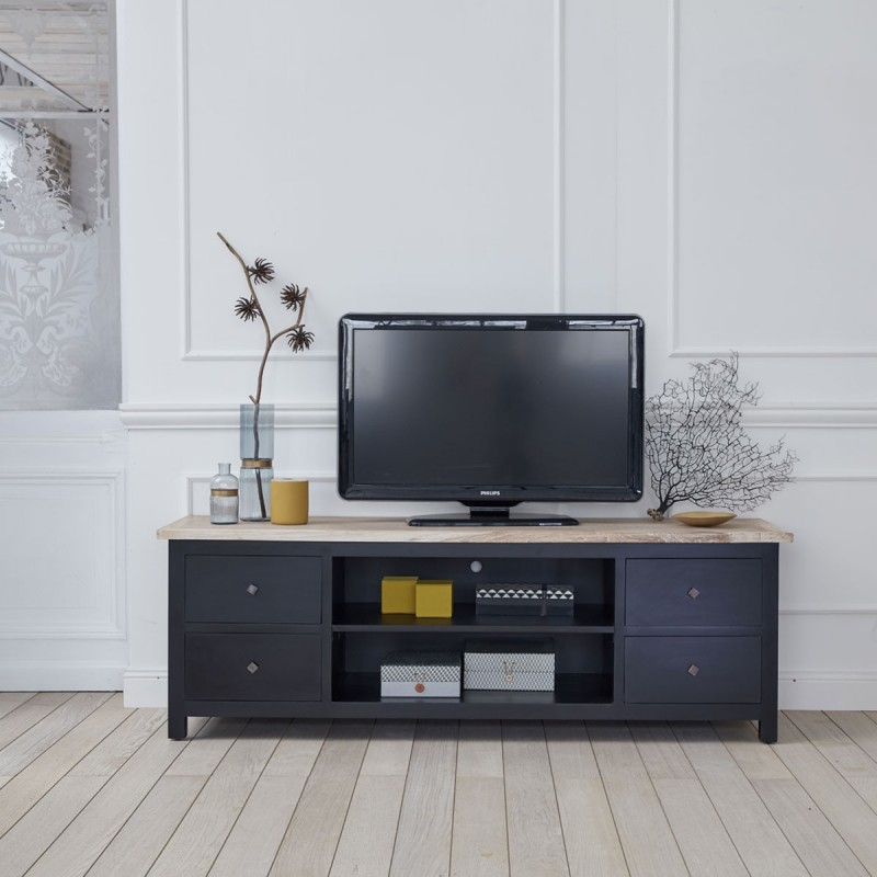 meuble tv en bois d 39 acajou et teck 180 londres bois. Black Bedroom Furniture Sets. Home Design Ideas