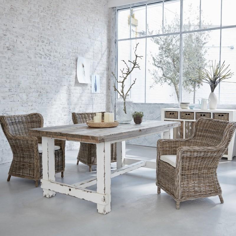 Table en bois de pin recyclé rectangulaire - ATLANTIC