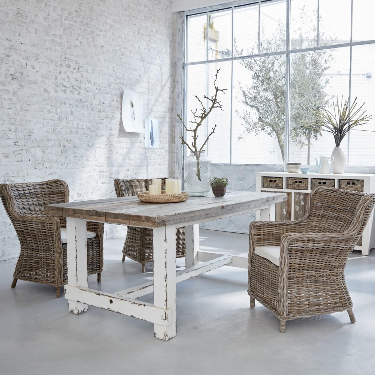 table en bois de pin recycl rectangulaire 180 atlantic bois dessus bois dessous. Black Bedroom Furniture Sets. Home Design Ideas