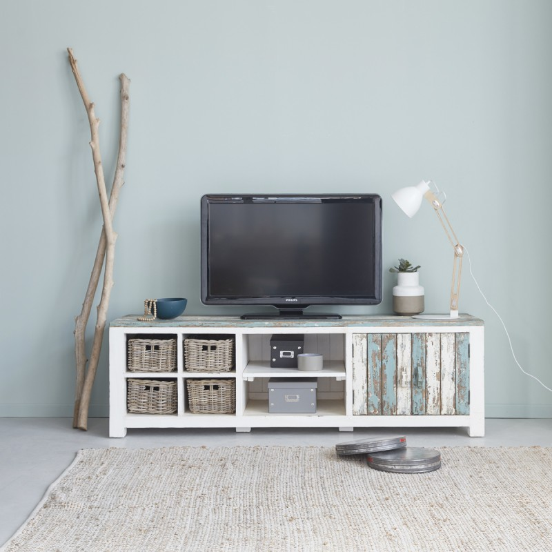 meuble tv en bois de pin recycl 180 atlantic bois dessus bois dessous. Black Bedroom Furniture Sets. Home Design Ideas