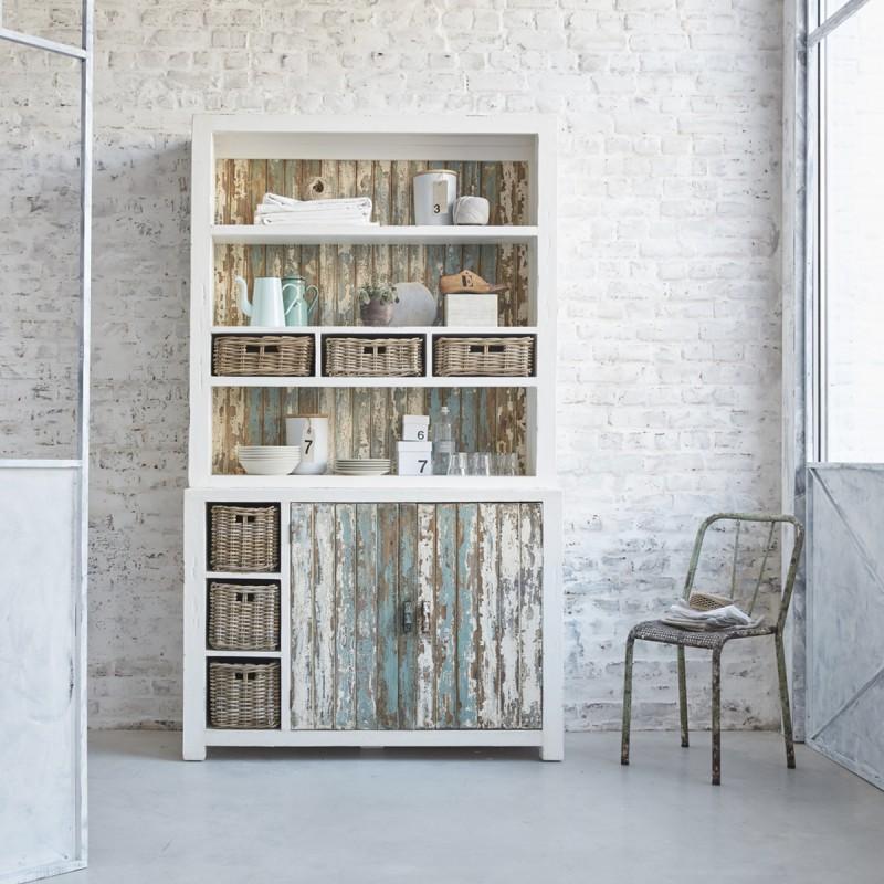 Bibliothèque en bois de pin recyclé 125 cm ATLANTIC