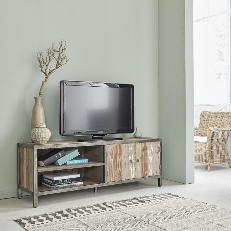 Meuble tv en bois de pin recycl et m tal 150 vintage bois dessus bois dessous - Meuble tv bois recycle ...