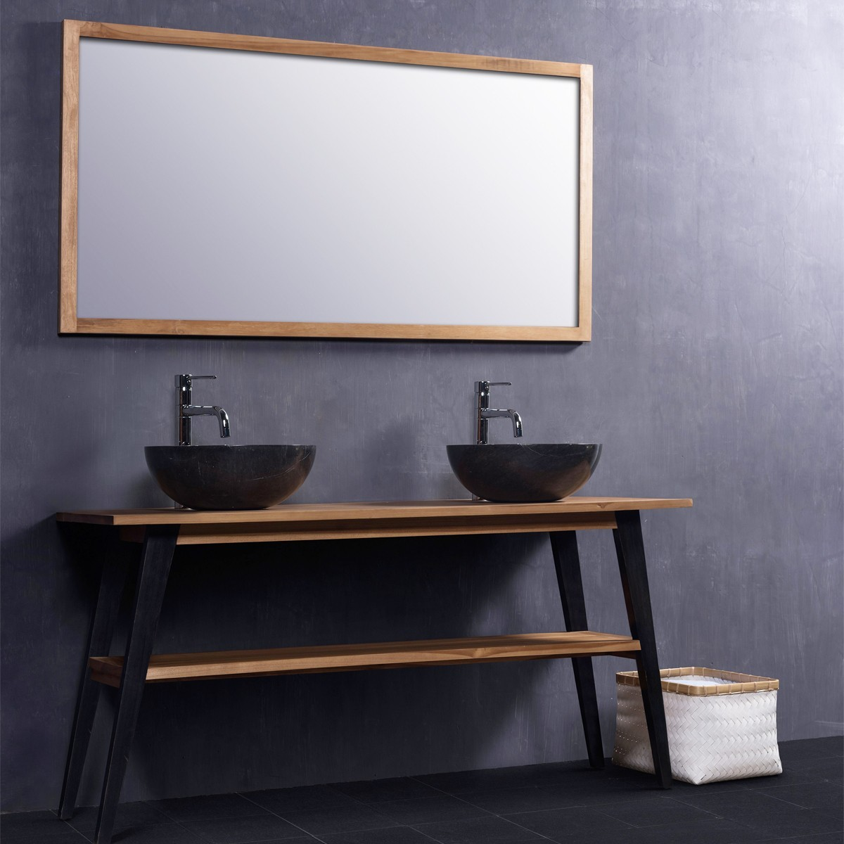 awesome miroir salle de bain bois gallery. Black Bedroom Furniture Sets. Home Design Ideas