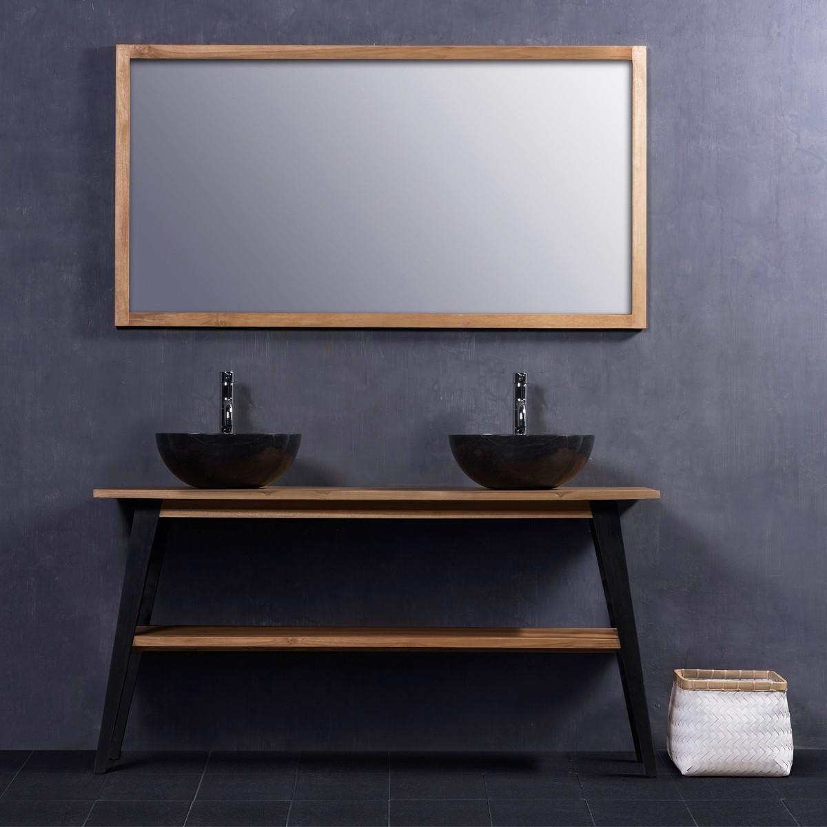 ensemble de salle de bain en bois de teck 150 2 vasques miroir bois dessus bois dessous. Black Bedroom Furniture Sets. Home Design Ideas