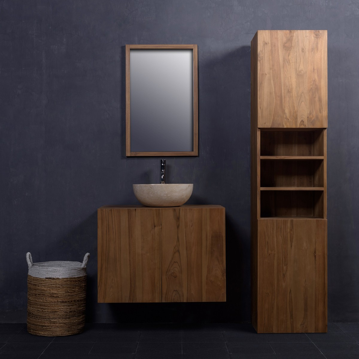 ensemble de salle de bain en bois de teck meuble de salle de bain teck 80 meuble colonne. Black Bedroom Furniture Sets. Home Design Ideas