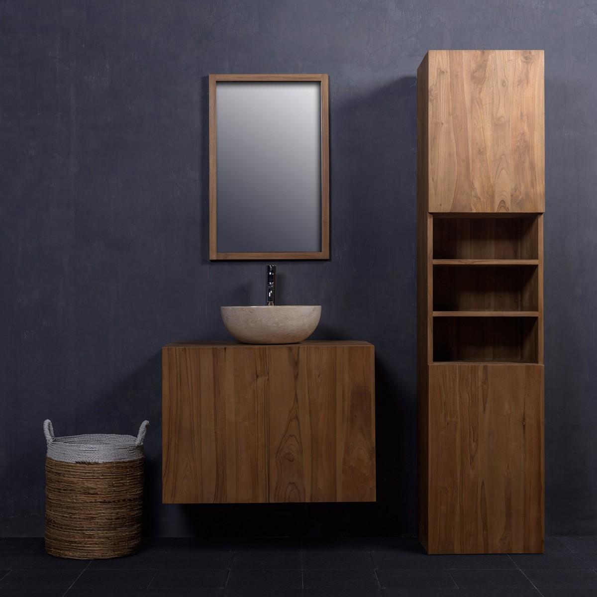 Salle de bain meuble bois maison moderne for Meuble salle de bain