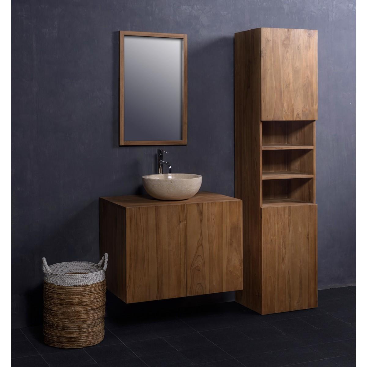 Ensemble de salle de bain en bois de teck 80 meuble for Ensemble meuble et vasque salle de bain
