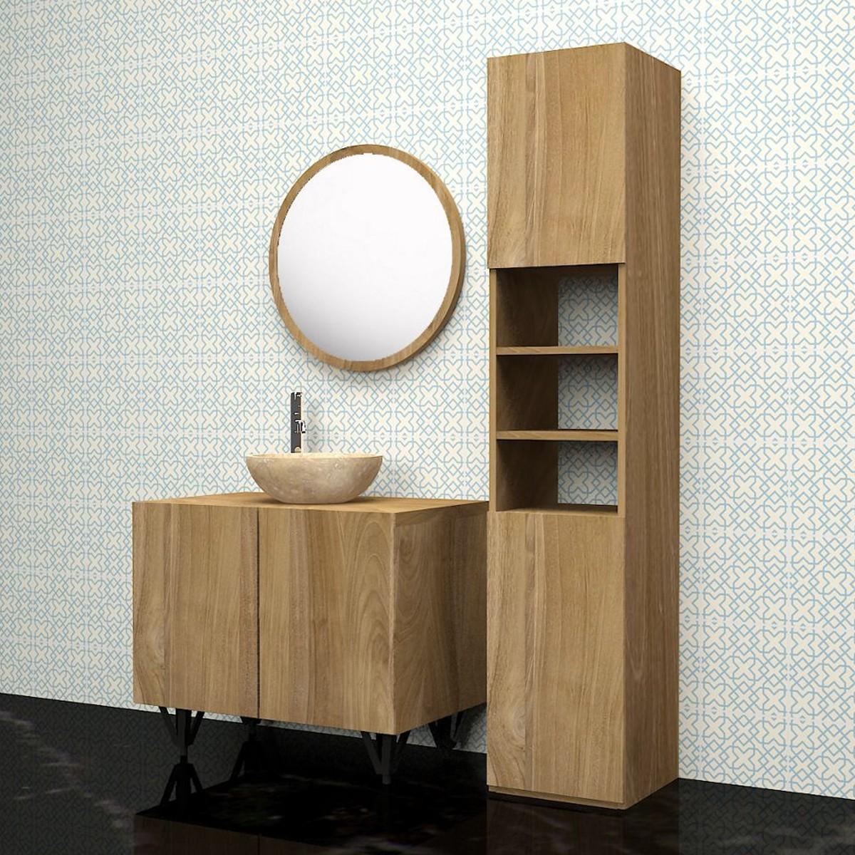 ensemble de salle de bain en bois de teck 80 meuble colonne vasque miroir bois dessus. Black Bedroom Furniture Sets. Home Design Ideas