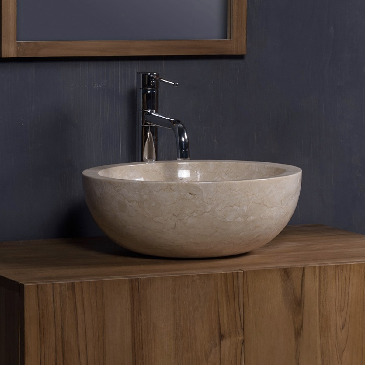 ensemble de salle de bain suspendu en bois de teck 80 cm - Ensemble Salle De Bain Teck