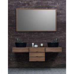 ensemble de salle de bain suspendu en bois de teck 160 cm