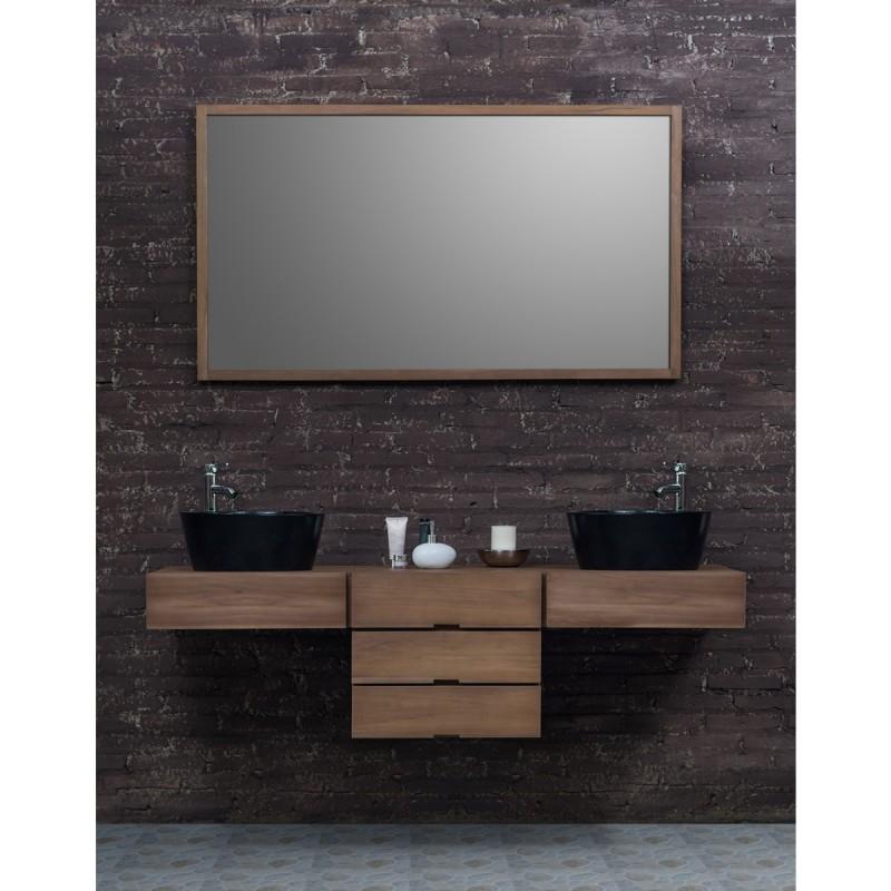Ensemble de salle de bain en bois de teck meuble de for Meuble de salle de bain 2 vasques