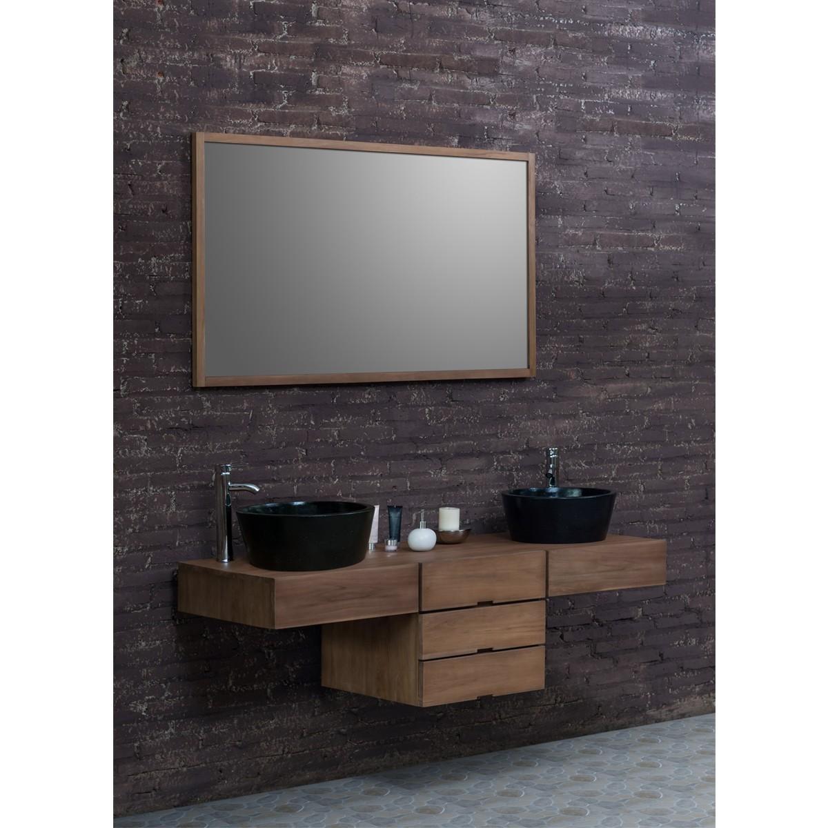 Ensemble de salle de bain en bois de teck 160 2 vasques for Miroir salle de bain bois