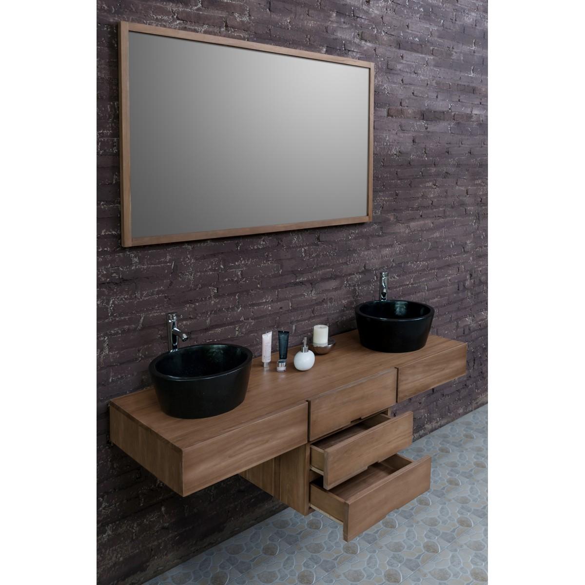 Ensemble de salle de bain en bois de teck 160 2 vasques for Meuble salle de bain 160 cm