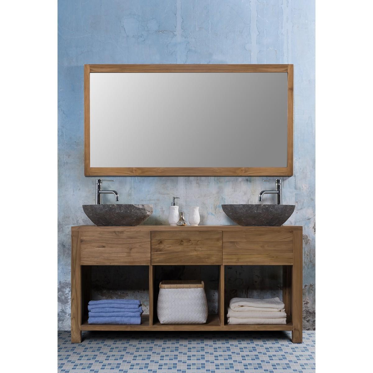 Ensemble de salle de bain en bois de teck 145 2 vasques for Salle de bain gris anthracite et bois