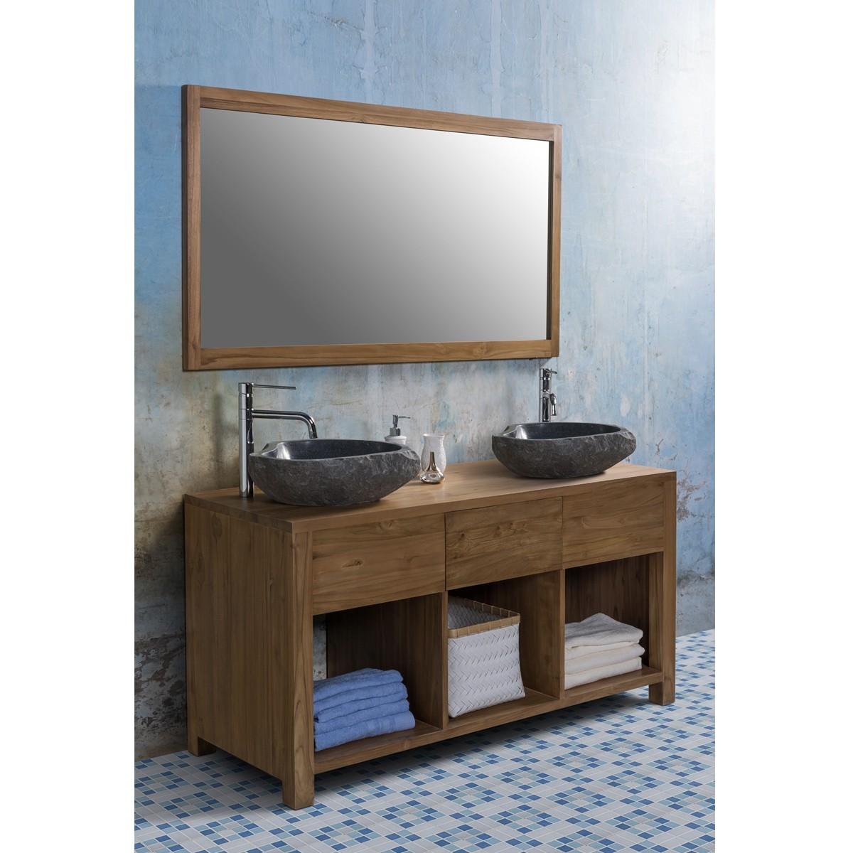 Ensemble de salle de bain en bois de teck 145 2 vasques for Miroir salle de bain en bois