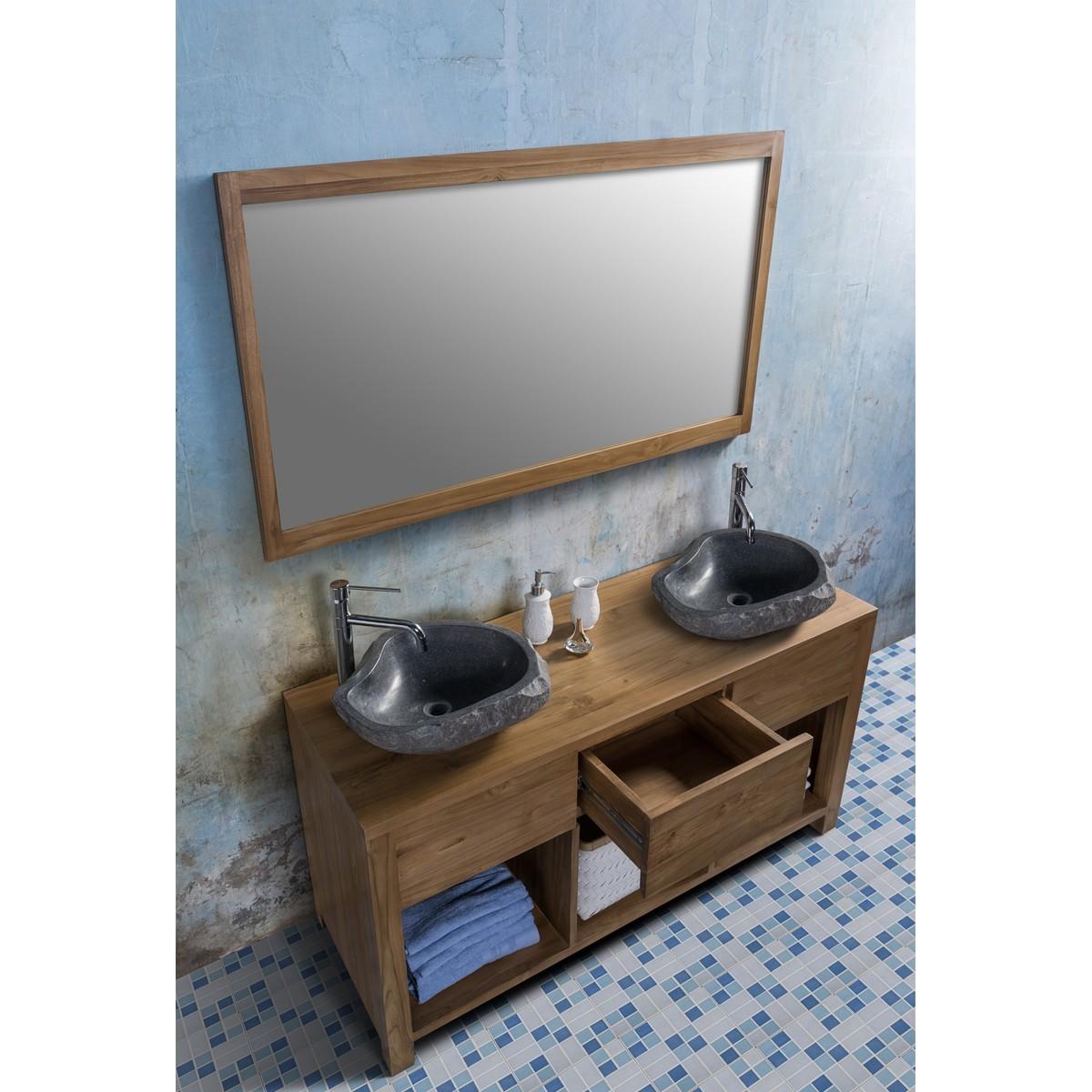 Ensemble de salle de bain en bois de teck 145 2 vasques miroir bois dessus bois dessous - Ensemble salle de bain bois ...
