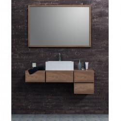 ensemble de salle de bain suspendu en bois de teck 145 cm