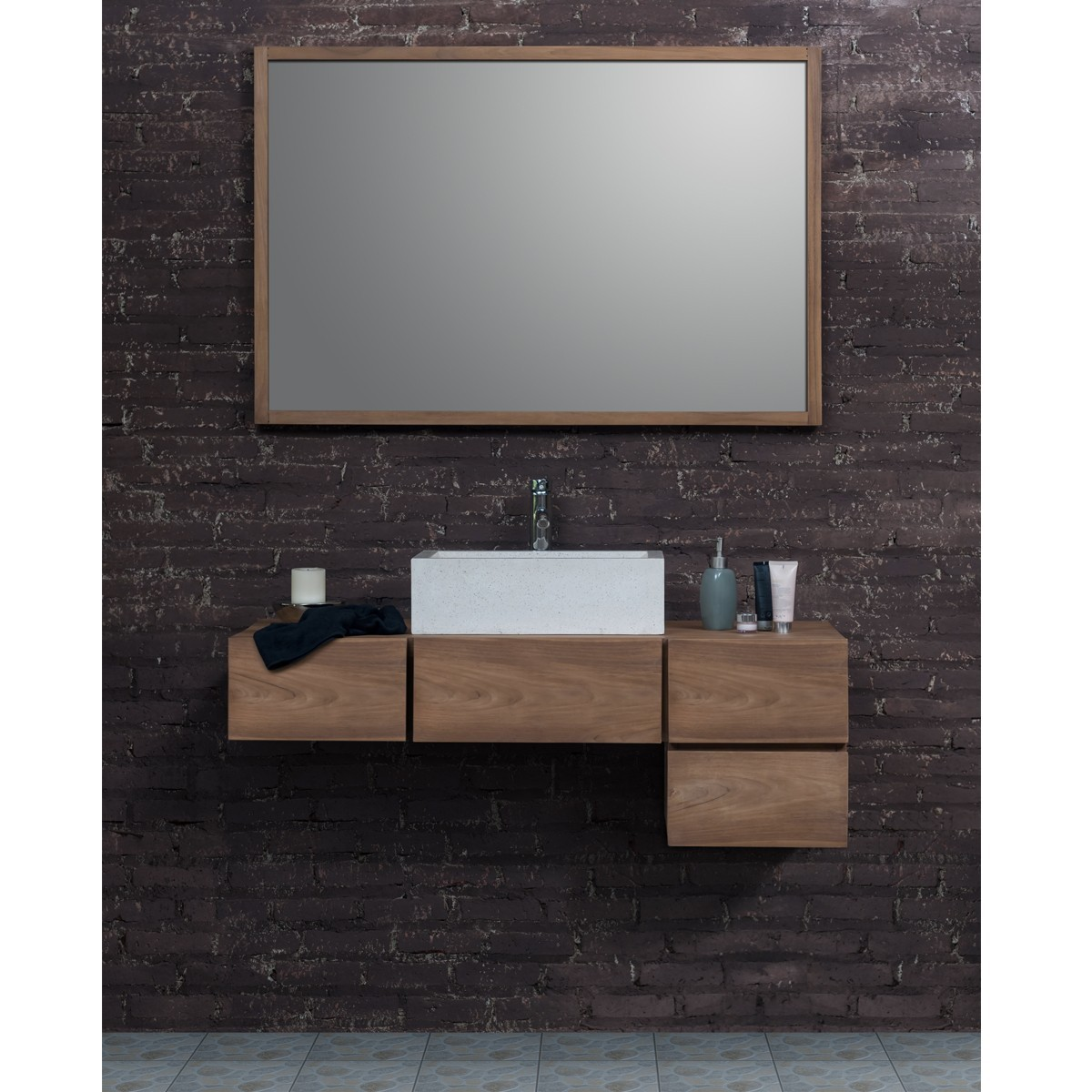Ensemble de salle de bain en bois de teck 145 vasque miroir bois dessus bois dessous - Ensemble salle de bain bois ...