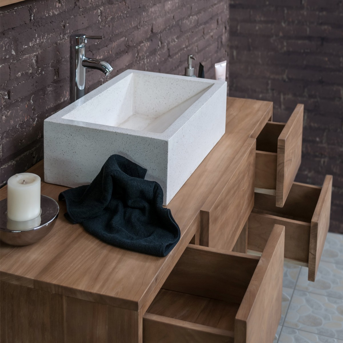 Ensemble De Salle De Bain En Bois De Teck Vasque Miroir - Meuble salle de bain teck suspendu