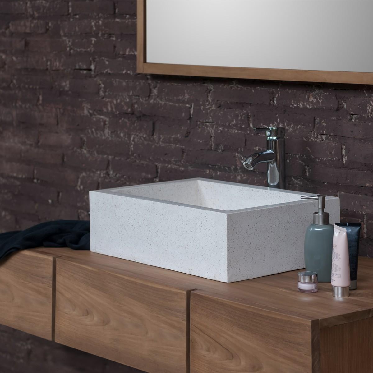 Ensemble de salle de bain en bois de teck 145 vasque for Ensemble salle de bain bois