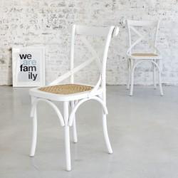 Chaise bistrot en bois d'acajou et rotin LONDRES