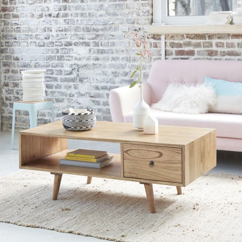 Table basse en bois de mindy avec tiroir OSLO 120 cm