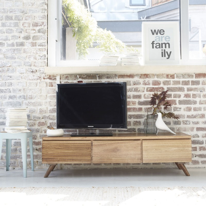 Meuble tv en bois de mindy 150 oslo bois dessus bois dessous for Meuble tv bois 100 cm
