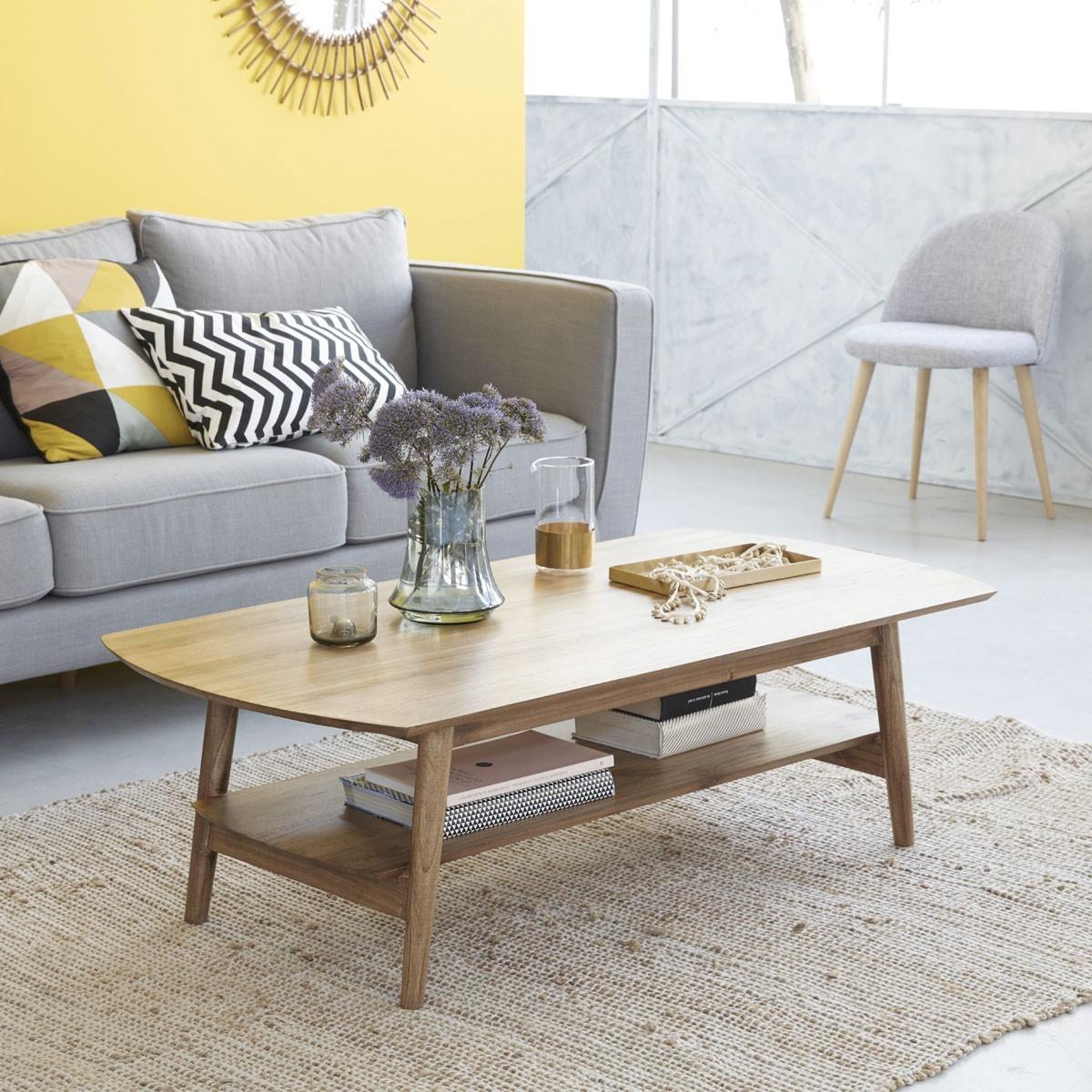 Table basse en bois de mindy 130 x 40 fifties bois for Table basse 40 cm largeur