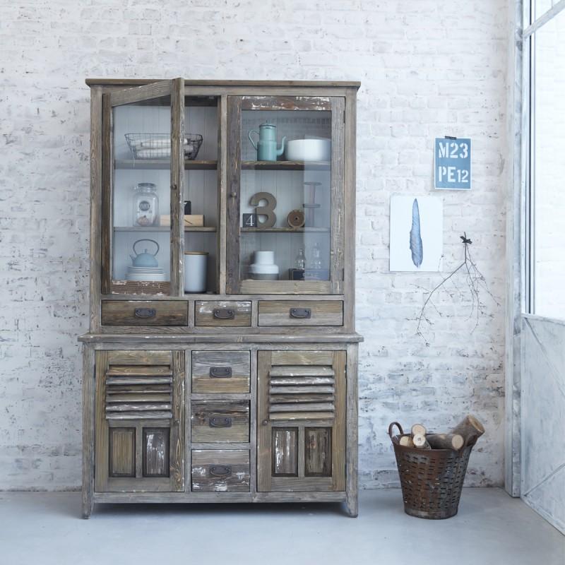 vaisselier en bois de pin recycl 140 vintage bois. Black Bedroom Furniture Sets. Home Design Ideas