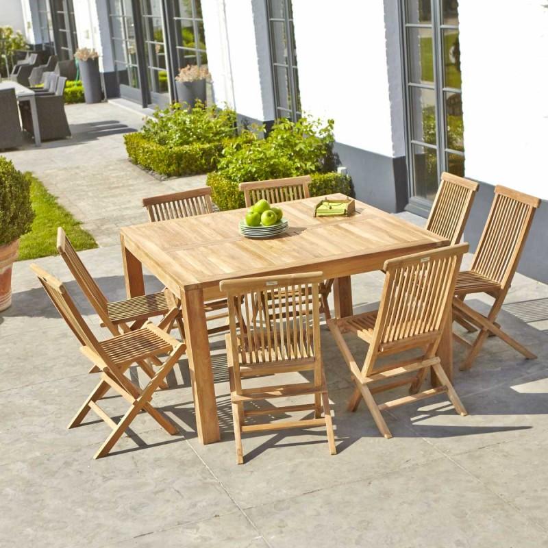 Salon de jardin carré en bois de teck 8 places MIDLAND