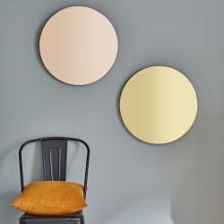 Miroir rond vintage doré