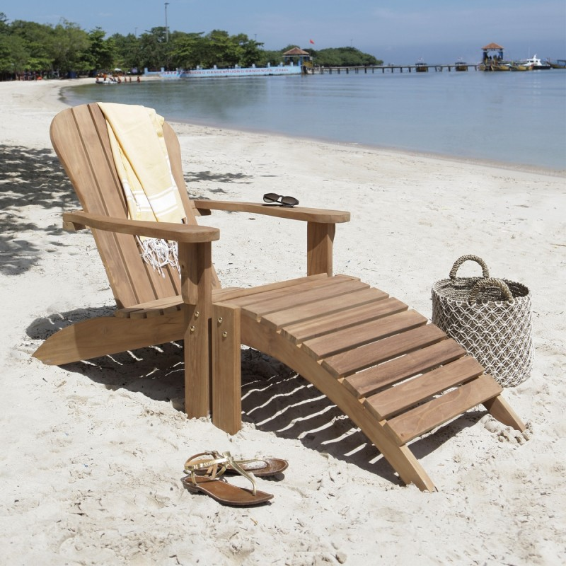 Fauteuil de jardin en teck midland avec repose pieds Chaise longue bois avec repose pied