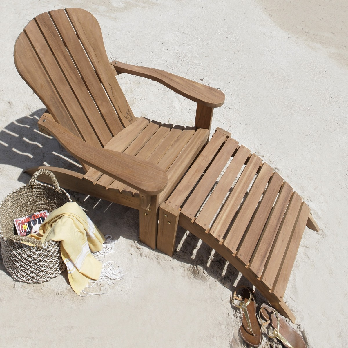 Fauteuil de jardin en teck midland avec repose pieds for Fauteuil de jardin bain de soleil