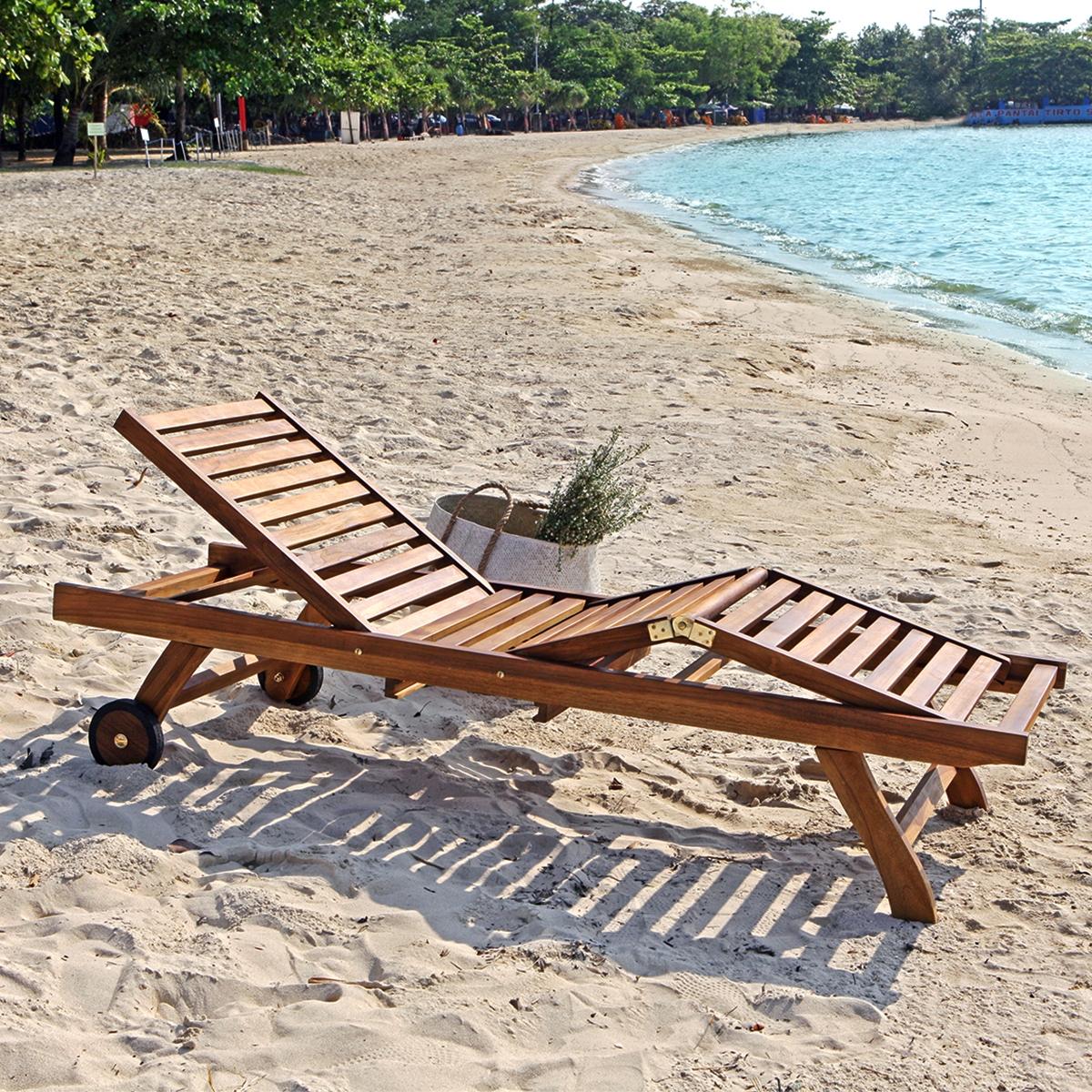 bain de soleil en bois de teck huil bali - Transat Soleil