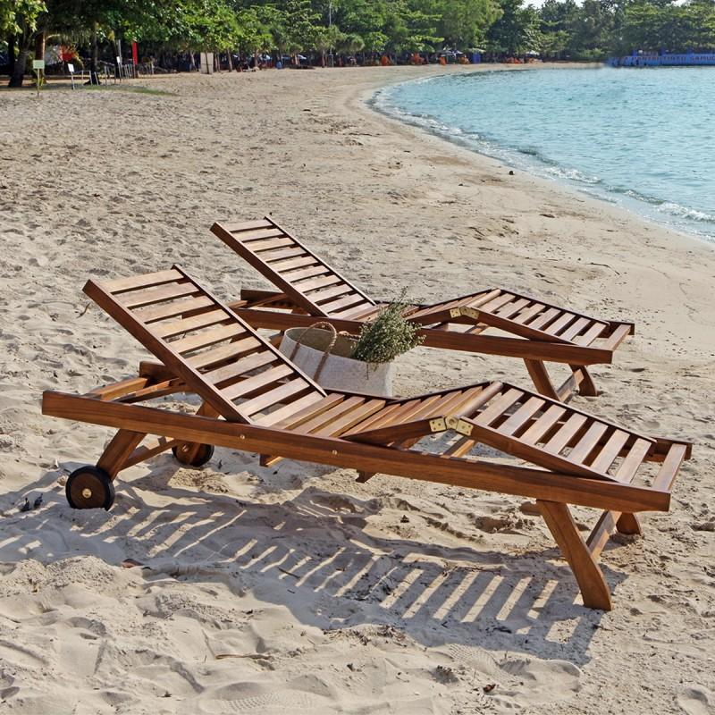 Lot de 2 bains de soleil en bois de teck huilé BALI