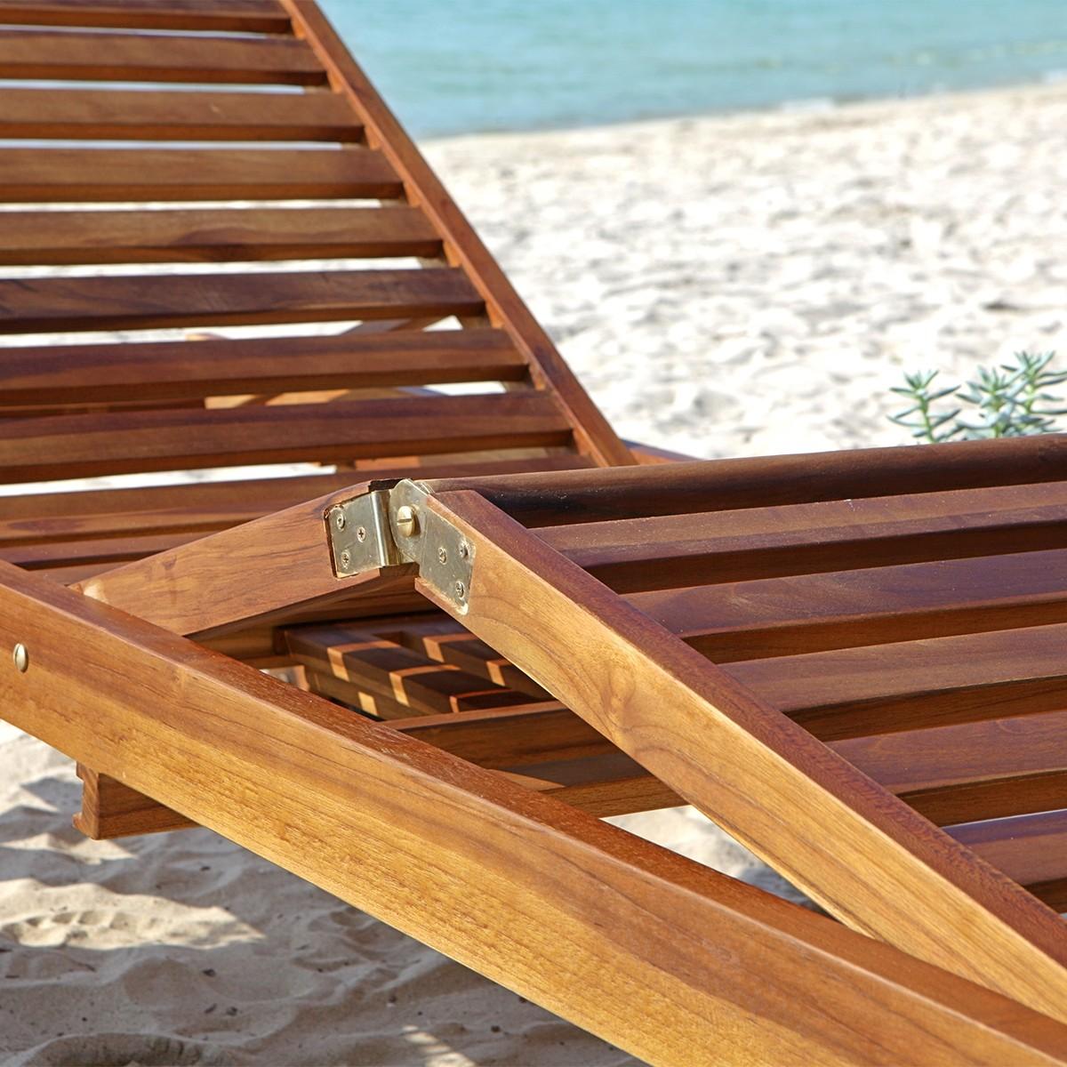 lot de 2 bains de soleil en bois de teck huil bali bois. Black Bedroom Furniture Sets. Home Design Ideas