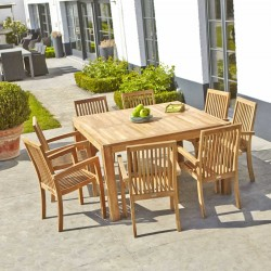 Salon de jardin en bois de teck MIDLAND carrée 8 places