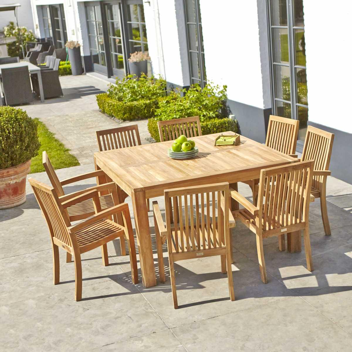 Salon de jardin rectangulaire en teck 8 places MIDLAND ...