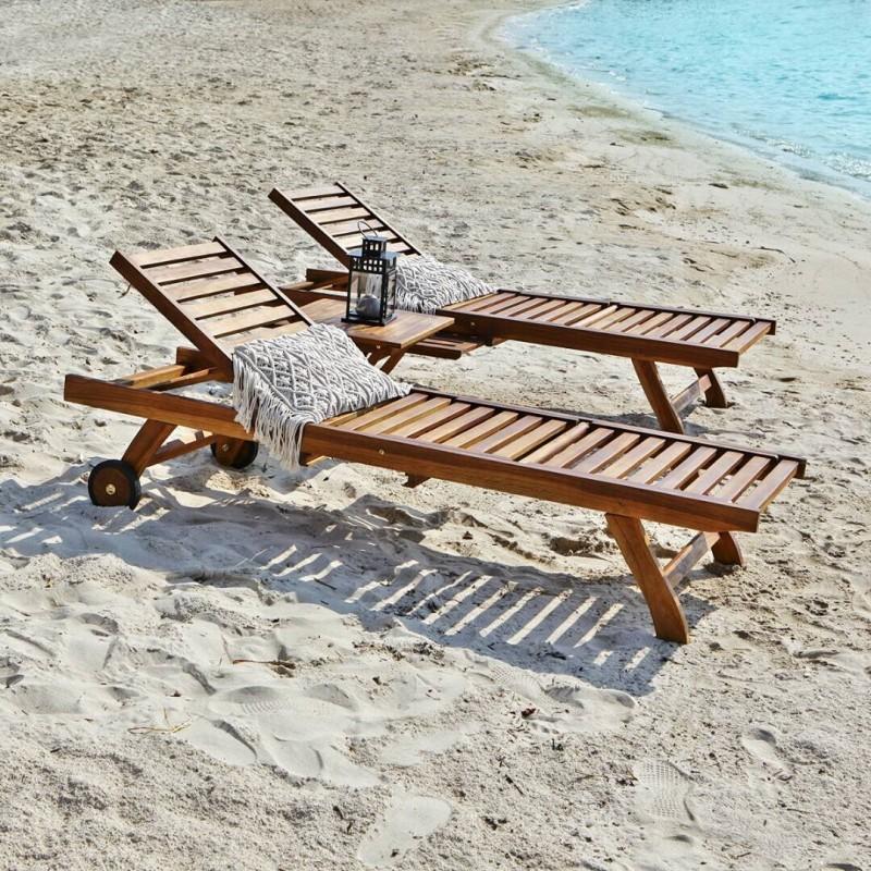 Lot de 2 bains de soleil et table basse en bois de teck huilé BALI