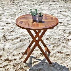 Table ronde pliante en bois de teck huilé BALI