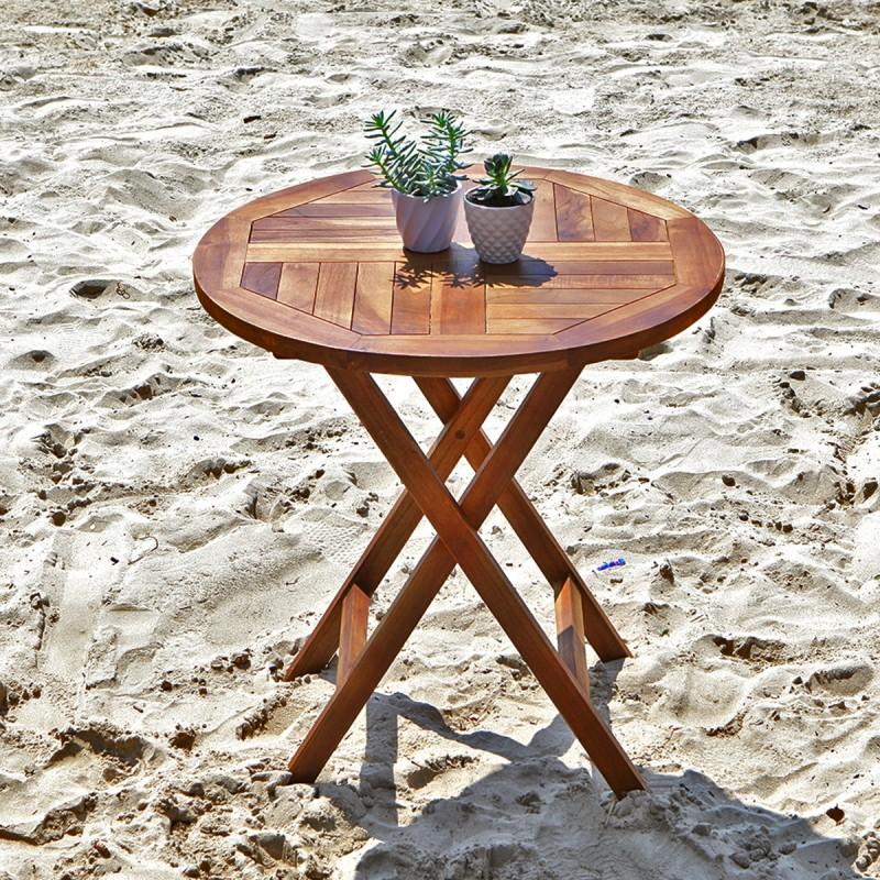 Table de jardin ronde pliante en teck huilé BALI
