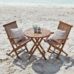 Salon de jardin en bois de teck huilé BALI avec 2 fauteuils