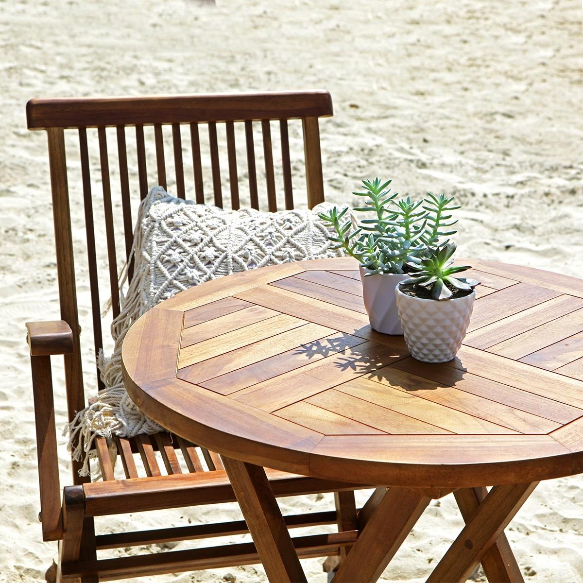 Salon de jardin en bois de teck huilé 2/4 places BALI | Bois ...