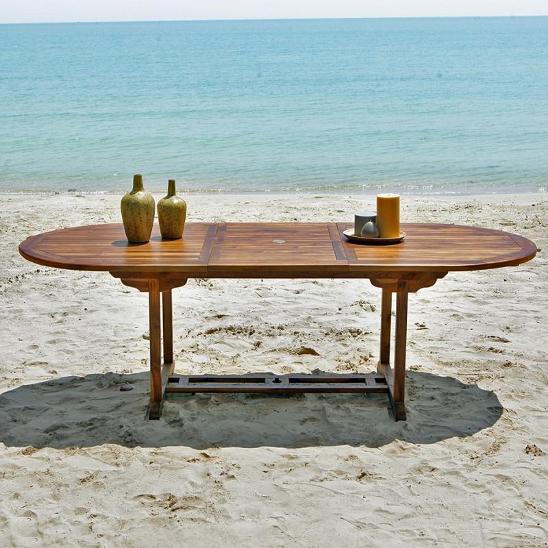 Table de jardin en bois de teck huil bali 8 10 places bois dessus bois dessous - Table de jardin en bois teck ...