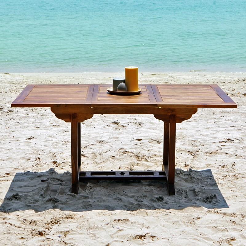 Table de jardin rectangulaire en bois de teck huilé BALI
