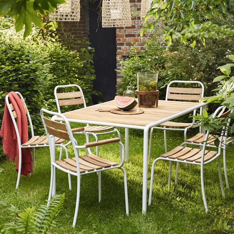 Salon de jardin en bois d\'acacia FSC et métal | Bois Dessus Bois Dessous