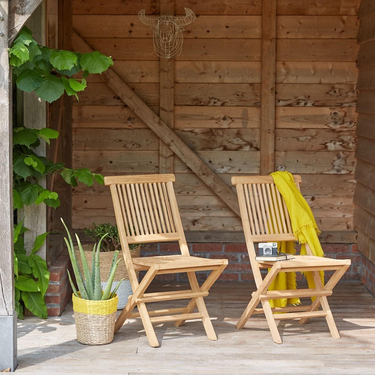 Lot de 2 chaises en bois de teck bois dessus bois dessous - Dessus de chaise en bois ...