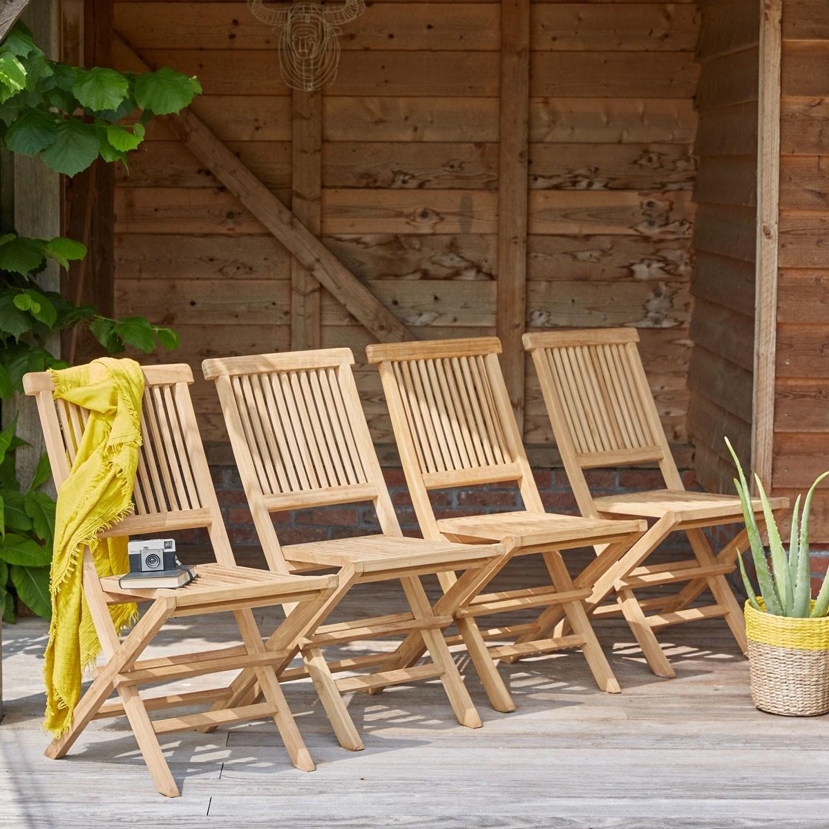 Lot de 4 chaises en bois de teck bois dessus bois dessous - Dessus de chaise en bois ...