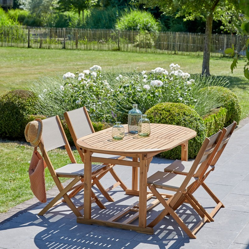 Salon de jardin ovale en bois d\'acacia FSC, extensible, 4 places HANOÏ